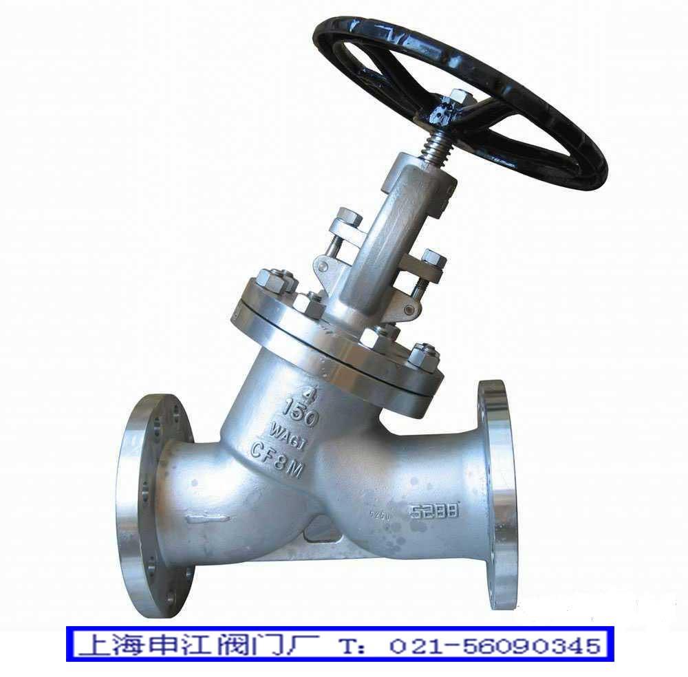 截止阀的启闭件是塞形的阀瓣,密封面呈平面或锥面,阀瓣沿流体的中心线作直线运动,截止阀只适用于全开和全关,不允许作调节和节流。截止阀阀杆的运动形式,有升降杆式(阀杆升降,手轮不升降),也有升降旋转杆式(手轮与阀杆一起旋转升降,螺母设在阀体上)。截止阀属于强制密封式阀门,所以在阀门关闭时,必须向阀瓣施加压力,以强制密封面不泄漏。